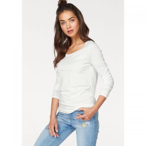 4ff8cb2e32e8c AJC - Tee-shirt uni manches longues femme AJC - Blanc Mat - T-