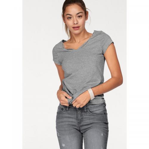 8dfc6f6a77 AJC - T-shirt manches courtes col fantaisie femme AJC - gris chiné - AJC
