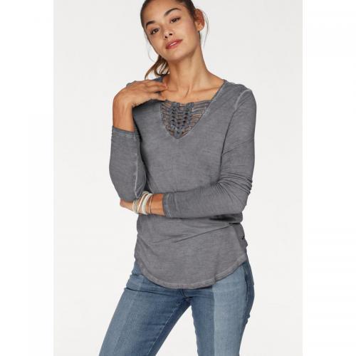 83845e34e60 AJC - Tee-shirt délavé encolure tressée manches longues femme AJC - Gris - T