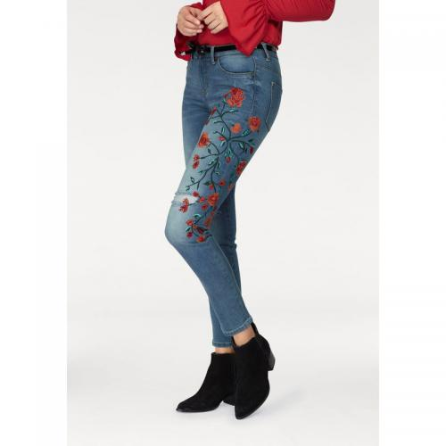 AJC - Jean slim fit used broderies fleurs femme AJC - Bleu Used - Broderies