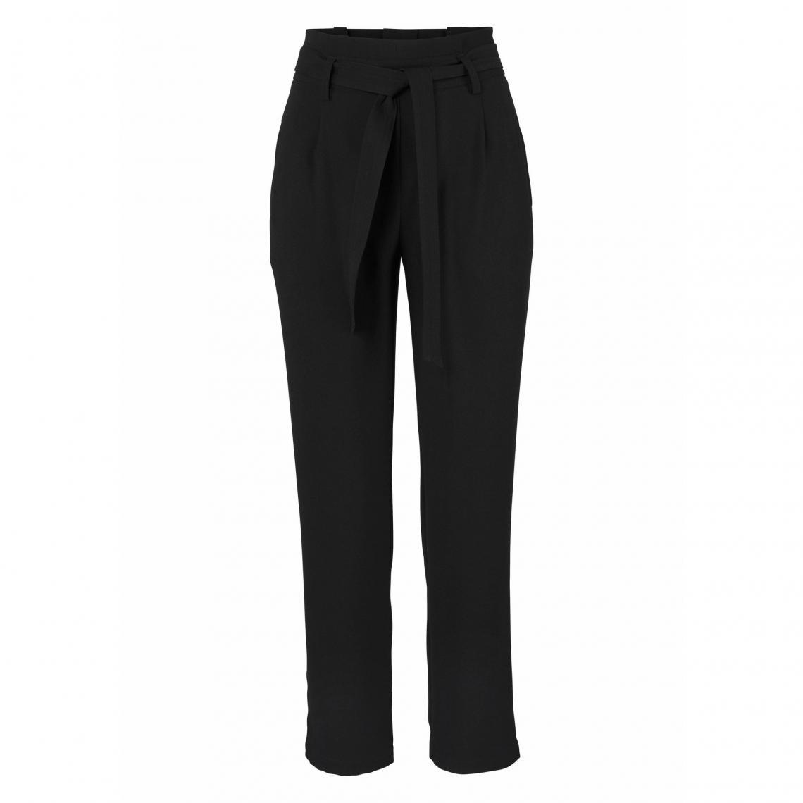 Pantalon taille haute avec ceinture à nouer femme AJC - Noir Za3b7