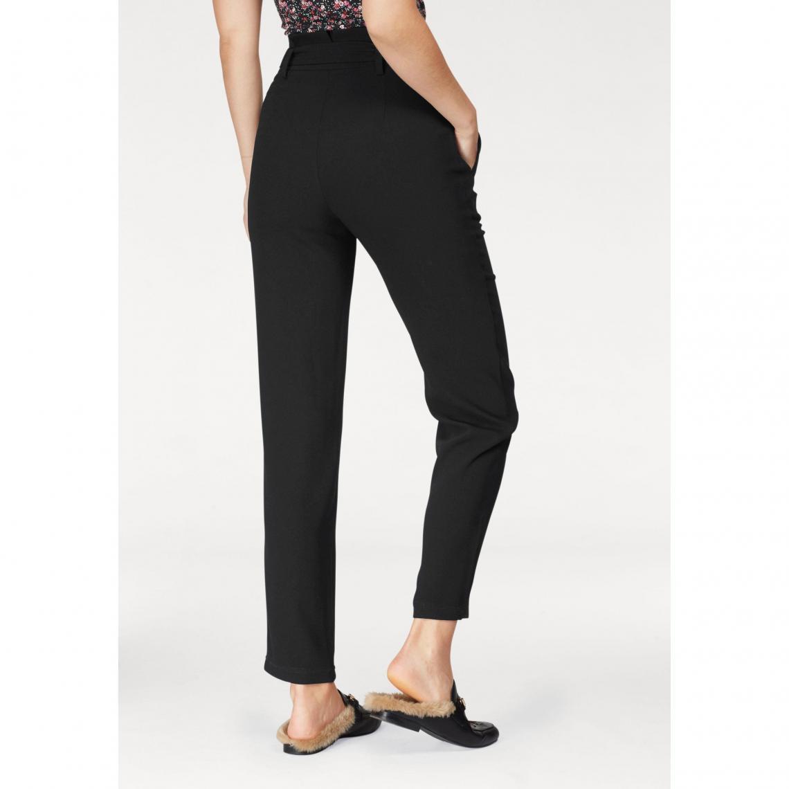 6c7920b47c0e7 Pantalon taille haute avec ceinture à nouer femme AJC - Noir | 3 SUISSES