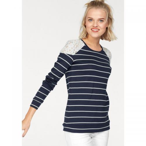 AJC - Tee-shirt rayé manches longues haut dentelle femme AJC - Marine -  Sweats c6370cc613bd