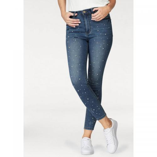 89d3361d1d61 AJC - Jean skinny taille haute Femme AJC - Bleu Used - Jeans taille haute  femme