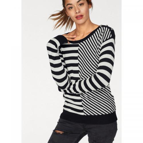 AJC - Pull rayé col rond manches longues femme AJC - Noir - Pull