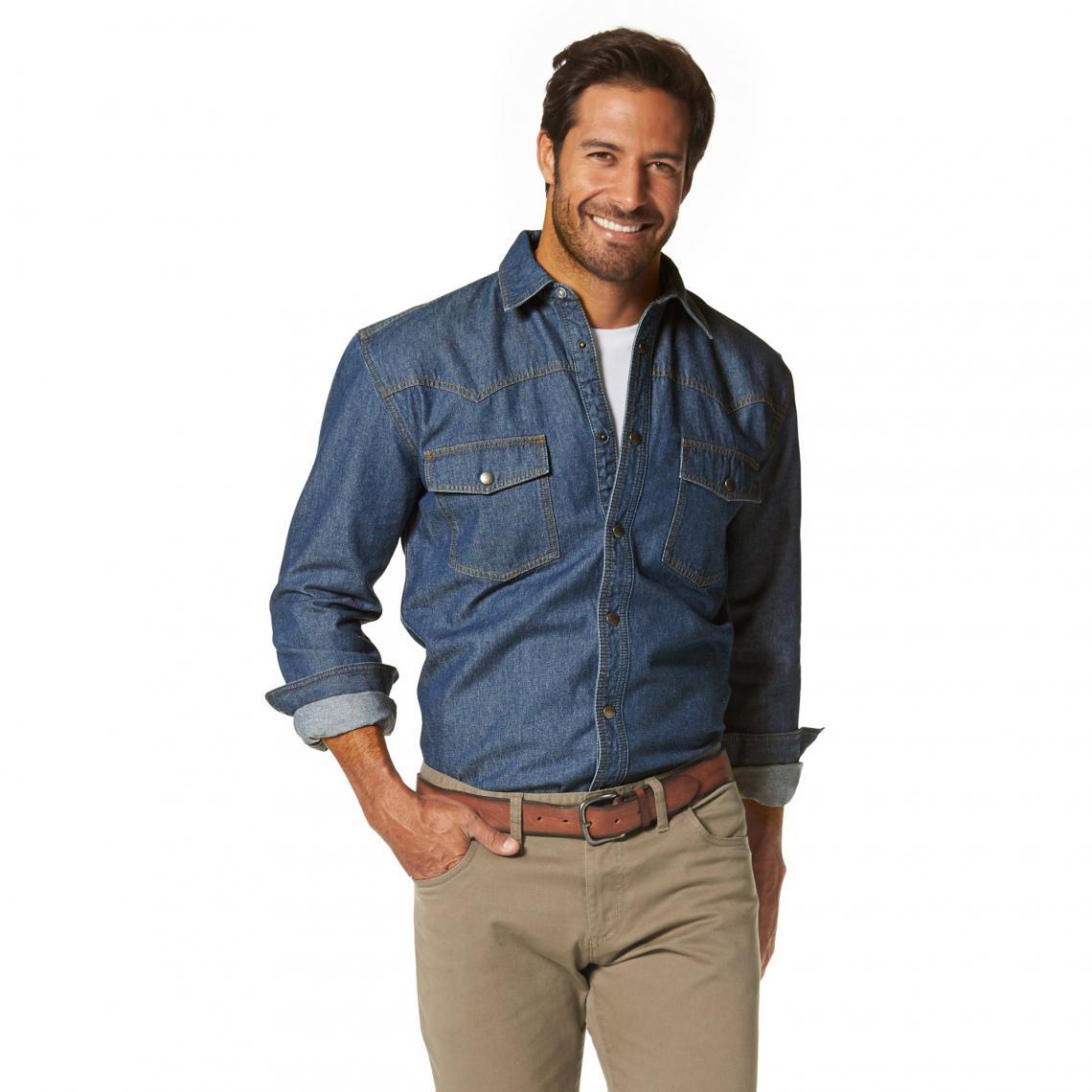 2b6bd08b75ace Chemise en jean manches longues homme Arizona - Bleu   3 SUISSES