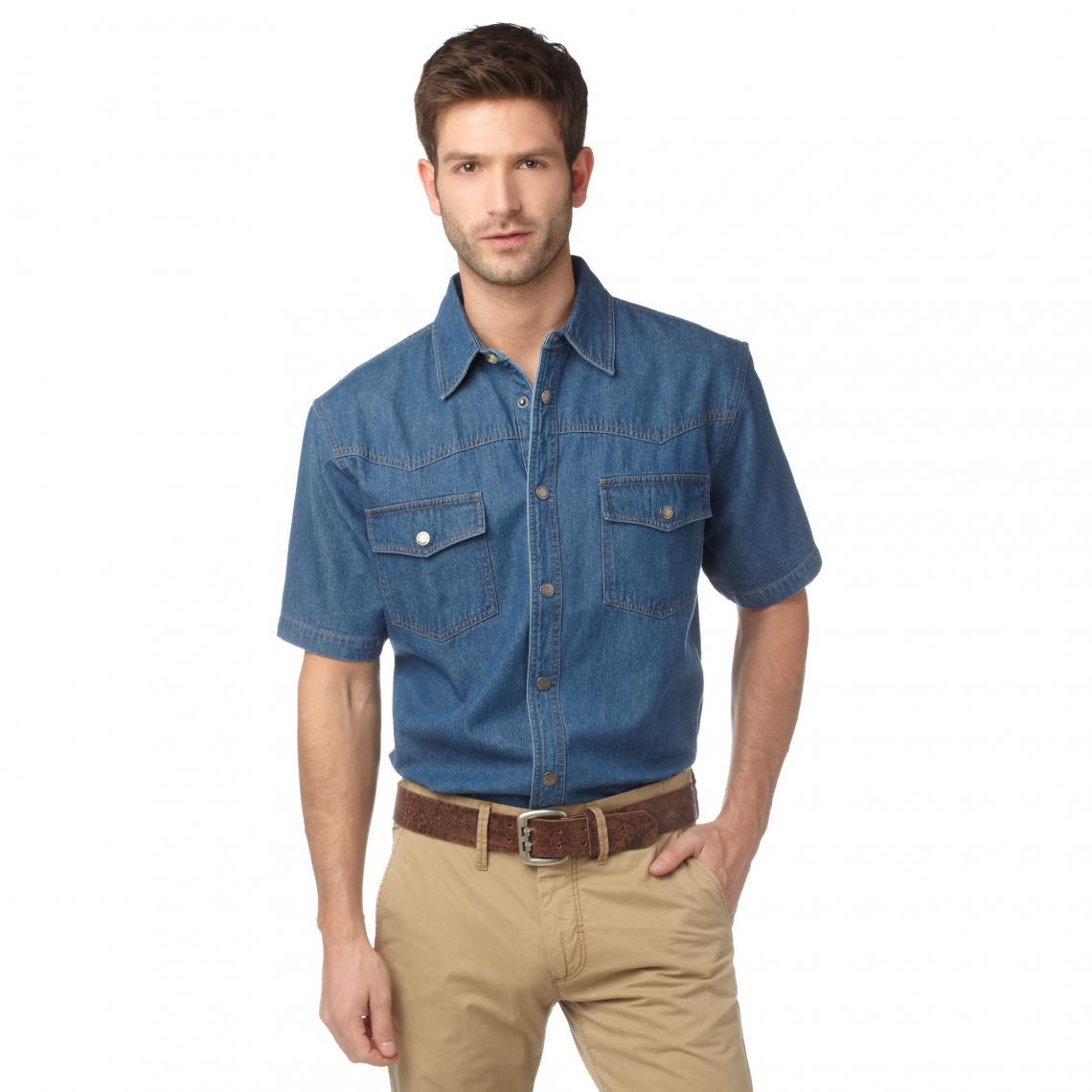 chemise manches courtes en jean coton homme arizona bleu. Black Bedroom Furniture Sets. Home Design Ideas