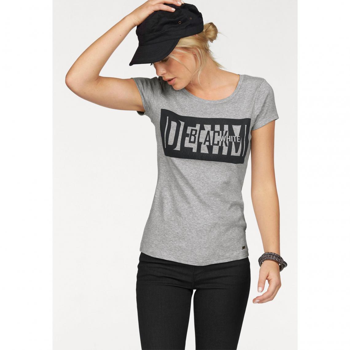 T-shirt imprimé col rond manches courtes femme Arizona - Gris Clair Chiné  Arizona Femme 27fda6460e2a