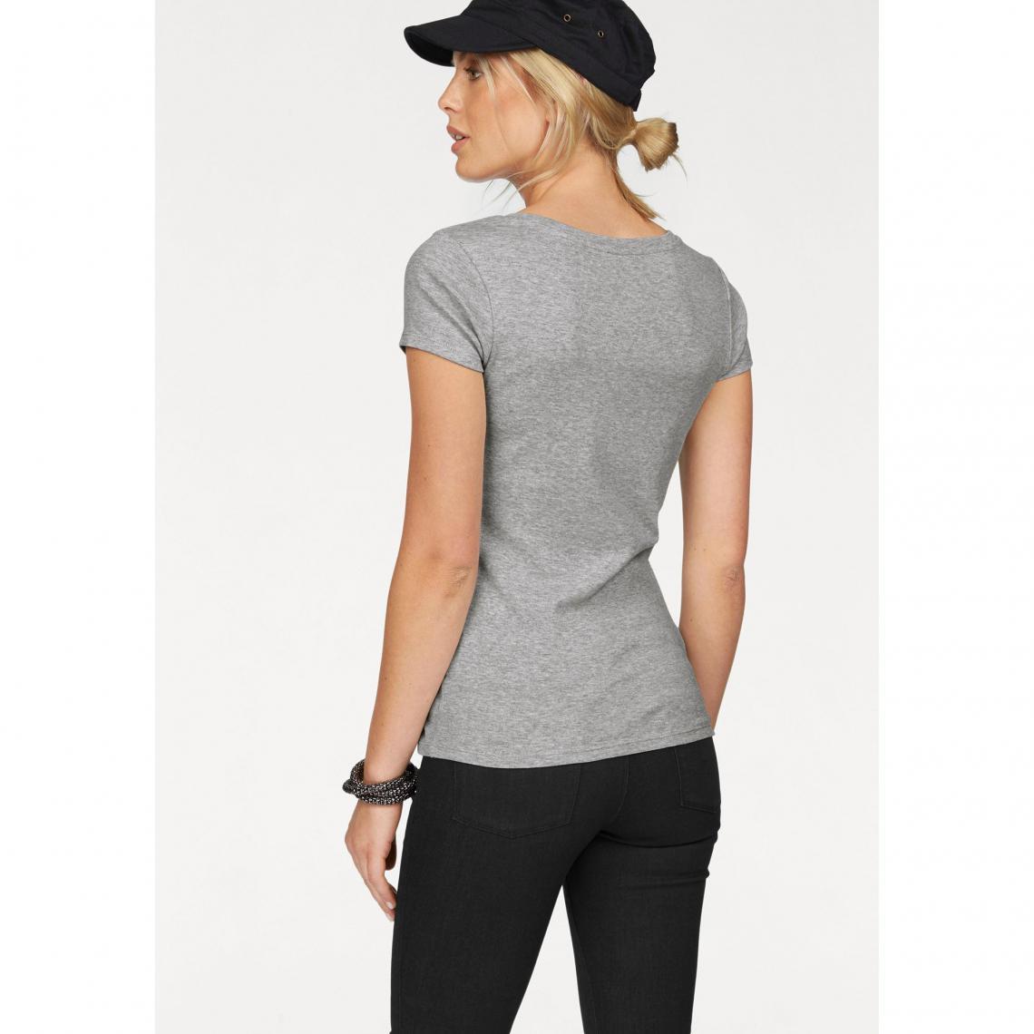 T-shirts col rond Arizona Cliquez l image pour l agrandir. T-shirt imprimé  col rond manches courtes femme Arizona - Gris Clair Chiné Arizona 6e66fd10839b