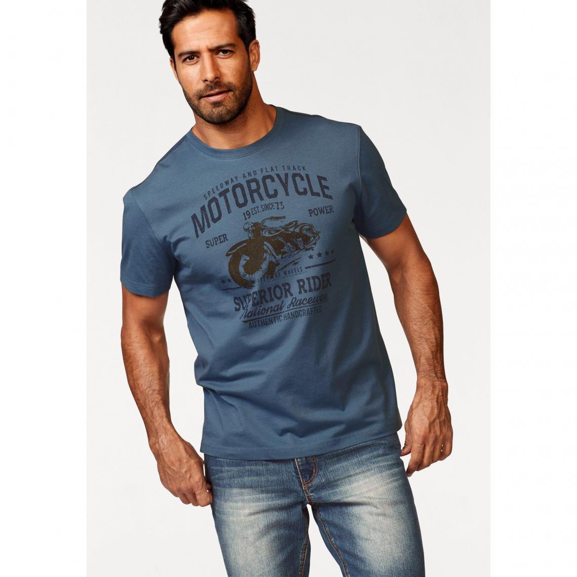 0e564c366f14c T-shirt imprimé col rond manches courtes homme Arizona - Bleu | 3 ...