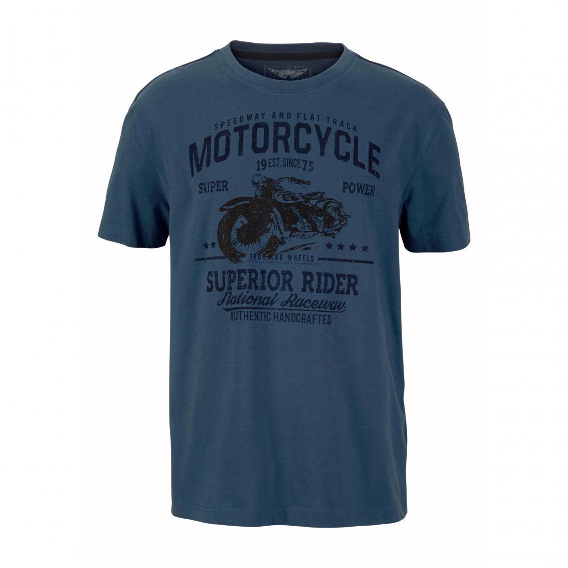 c0310aa052c T-shirt imprimé col rond manches courtes homme Arizona - Bleu Arizona