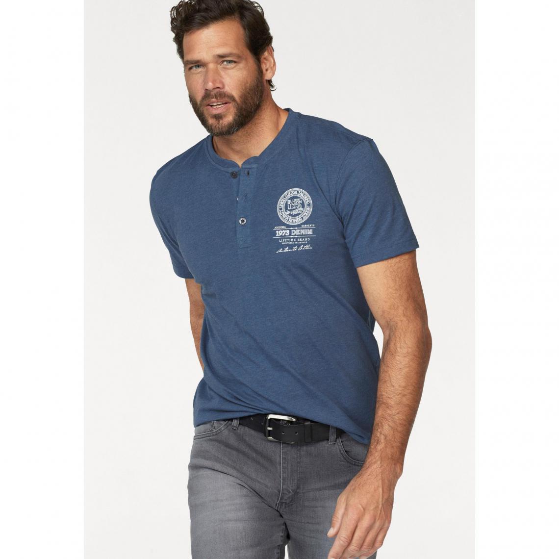 ca21b6141cd Lot de 2 t-shirts unis col rond boutonné homme Arizona - Bleu - Noir ...