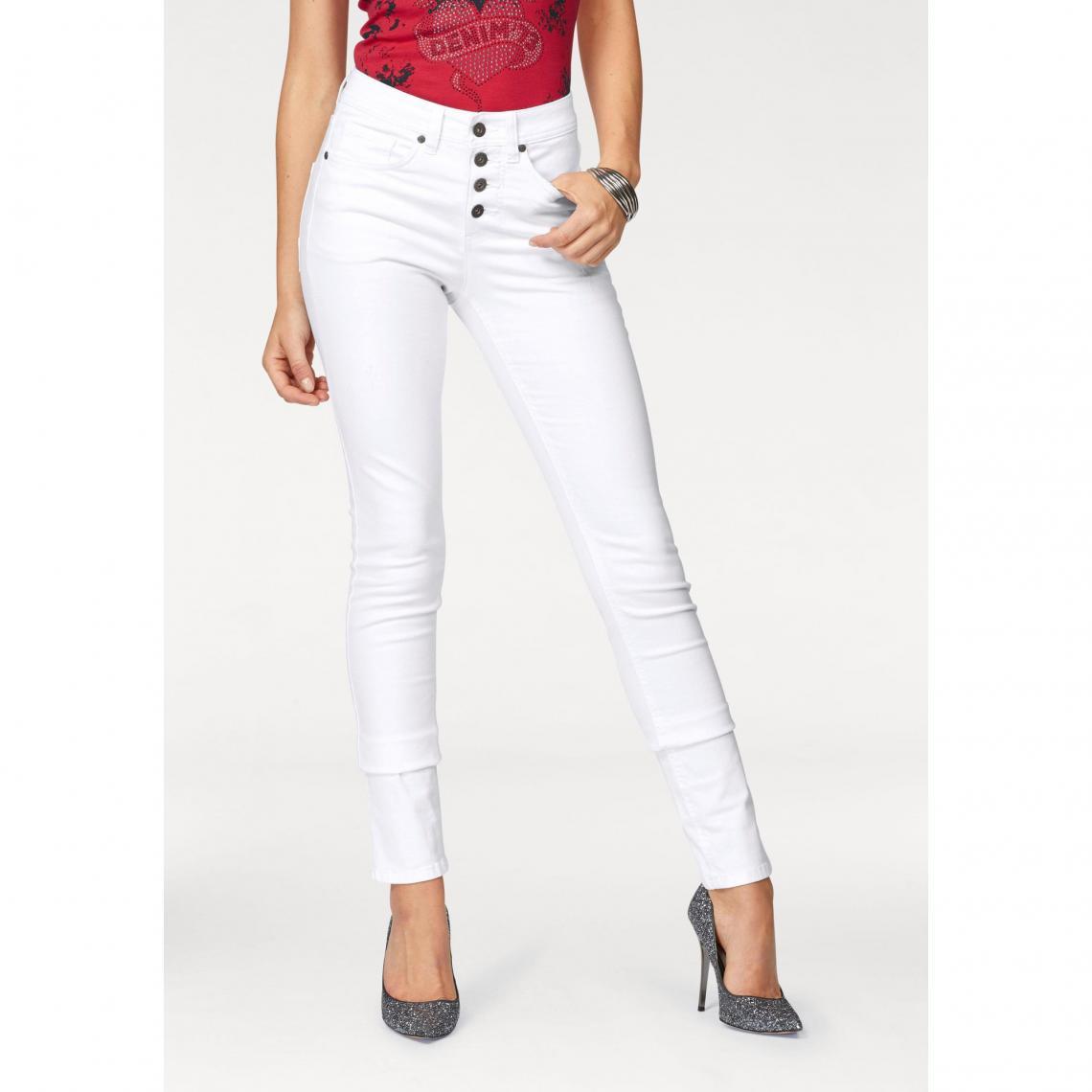 pantalon blanc slim femme