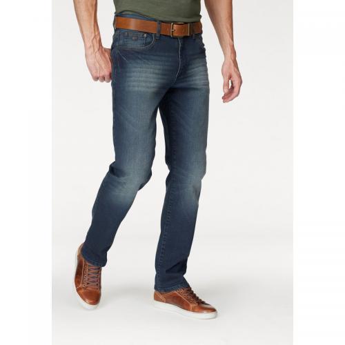 7bbaf02404057 Jean straight-fit Willis 5 poches stretch L32 homme Arizona - Bleu Foncé  Used