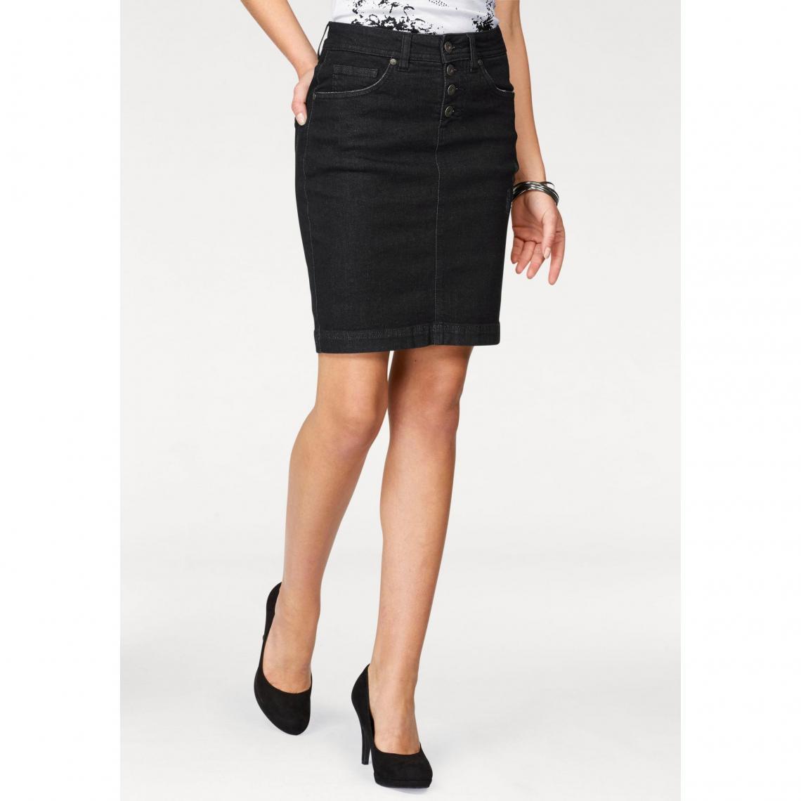 df35410f8242ea Jupe jean fermeture boutons apparents femme Arizona - Noir   3 SUISSES