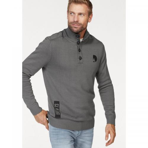 Arizona - Pull col montant boutonné manches longues homme Arizona - Gris - Pull / Gilet / Sweatshirt