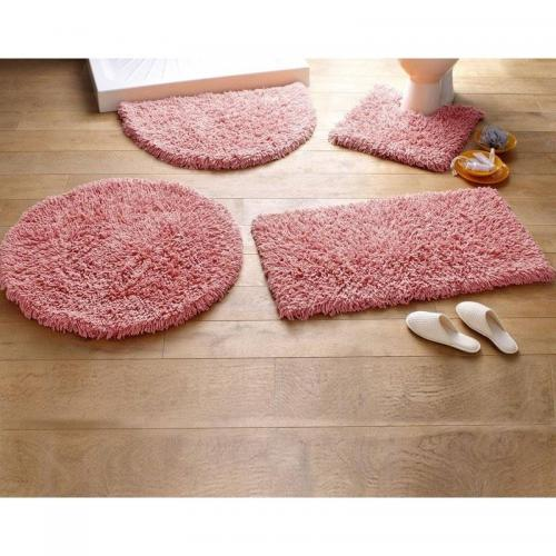 Tapis de bain coton longues mèches 1500g/m2 Becquet - Rose