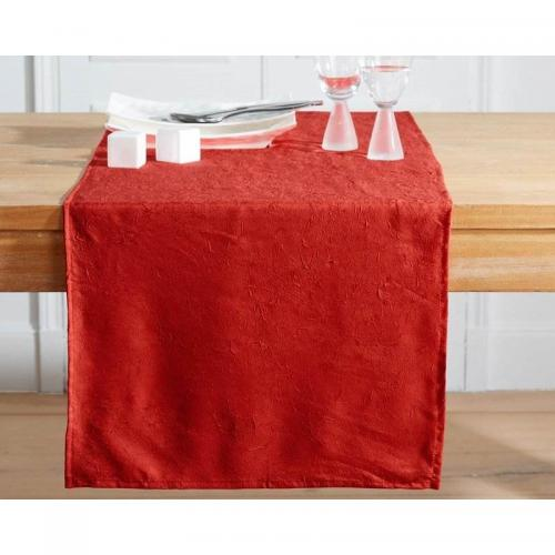 Becquet - Chemin de table froissé permanent Becquet - Rouge Rubis - Linge de table