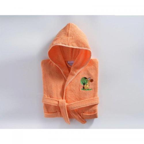 Becquet - Peignoir brodé enfant 340gm2 Becquet - Orange - Linge de bain