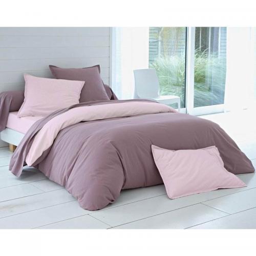 Housse de couette bicolore coton lin lav becquet rose poudr 3suisses - Housse de couette rose poudre ...