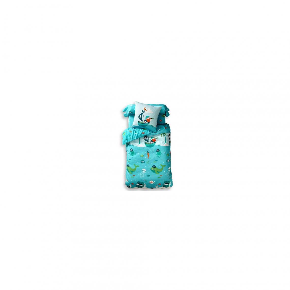 Housse de couette décor pirates et poisson Becquet - Turquoise Becquet  Linge de maison 4ffc20b11fd