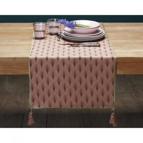 Becquet - Chemin de table imprimé art déco Becquet - Rose - Linge de table