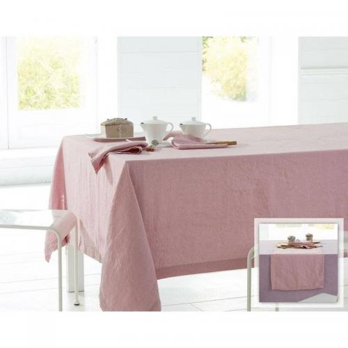 Becquet - Chemin de table en lin lavé Becquet - Rose - Linge de table