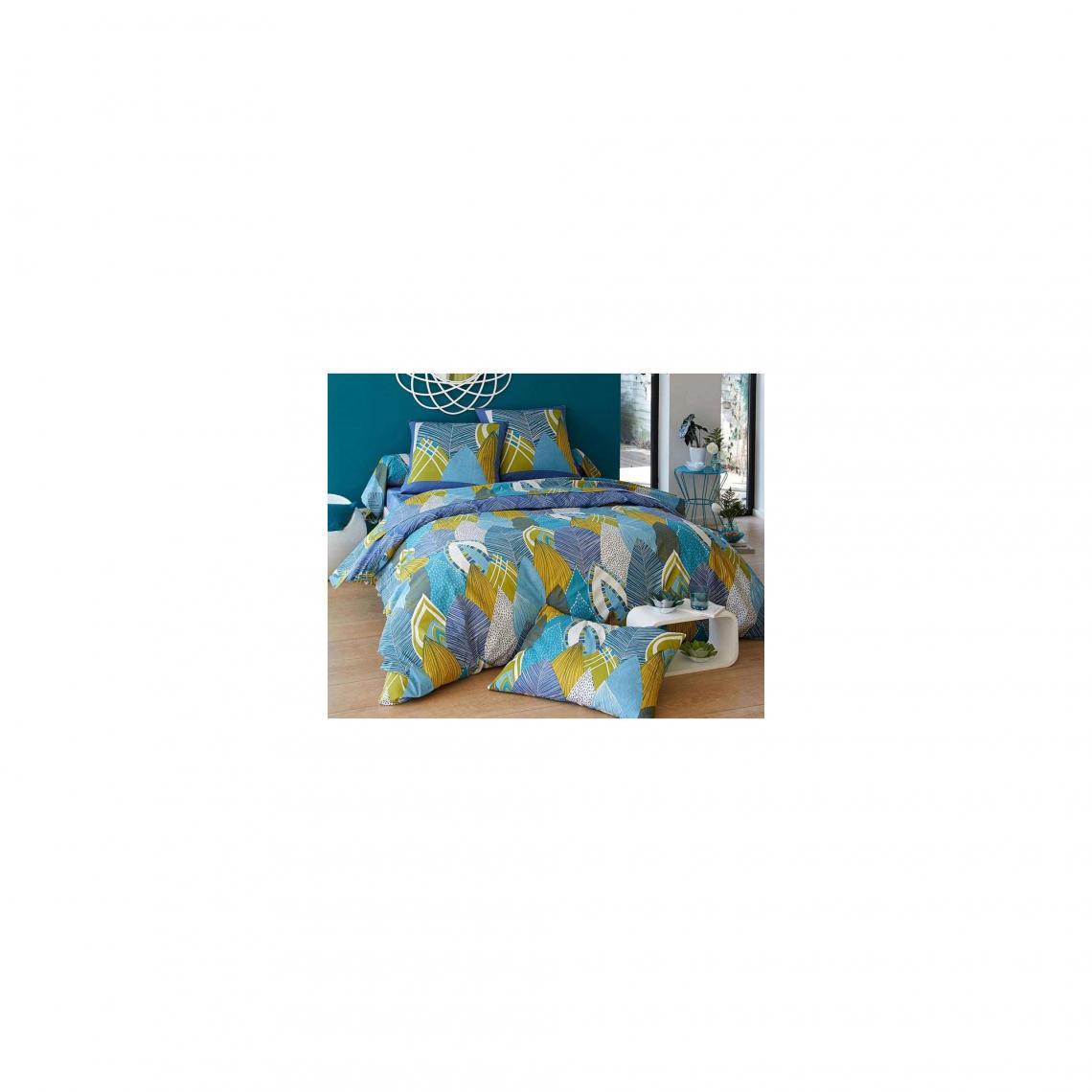 housse de couette feuilles tropicales coton becquet bleu 3 suisses. Black Bedroom Furniture Sets. Home Design Ideas