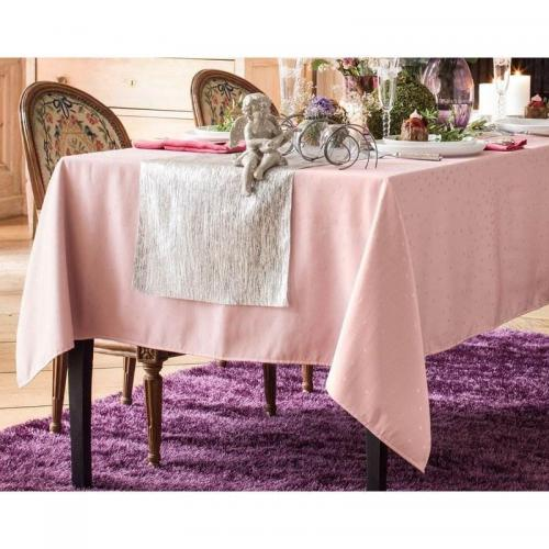 Becquet - Nappe damassée à pois Becquet - Rose - Linge de table