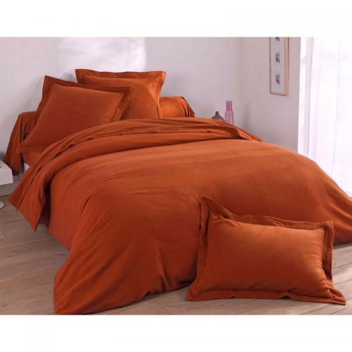 Drap-housse flanelle unie lauréat - Orange
