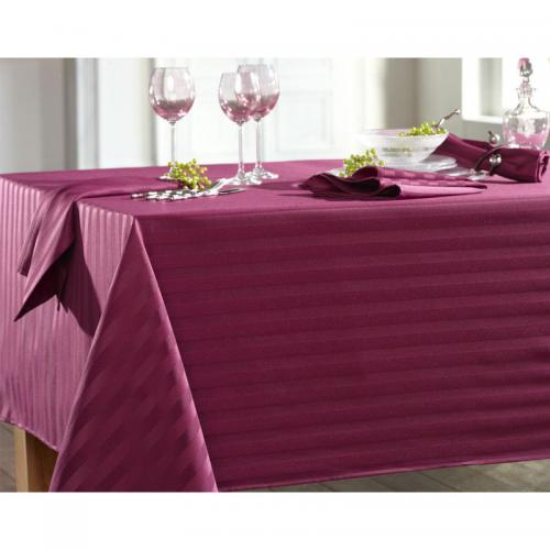 Becquet - Lot de 3 serviettes satin rayé nydel® Becquet - Violet - Serviette de table