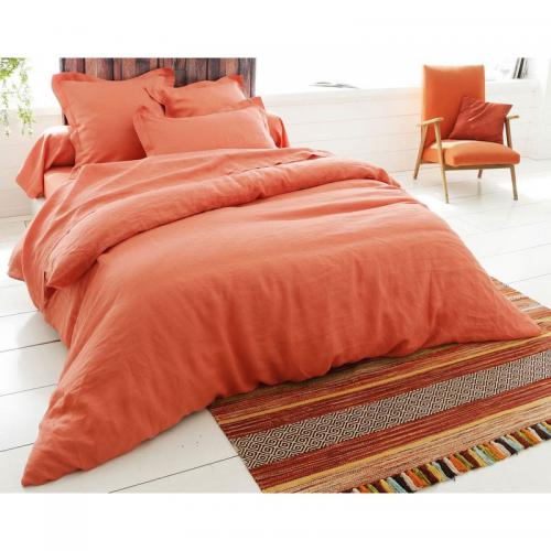 Drap housse en lin uni - Orange