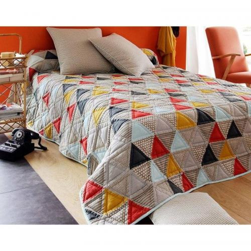 Boutis, plaid ou jeté de canapé patchwork triangles Becquet - Multicolore
