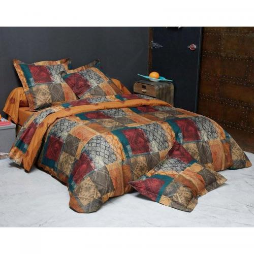 Becquet - Drap-housse patchwork Becquet - Orange + Rouge - Linge de maison