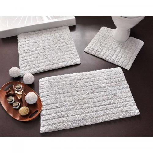 becquet tapis de bain effet carreaux 1700g m2 coton gris perle