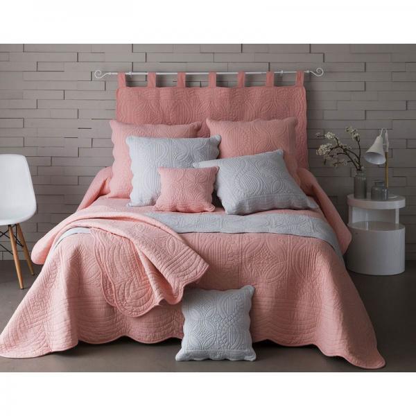 t te de lit en boutis uni pur coton becquet rose poudr. Black Bedroom Furniture Sets. Home Design Ideas