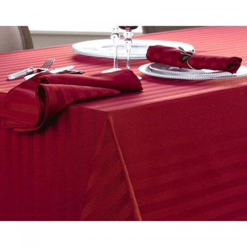 Becquet - Lot de 3 serviettes satin rayé nydel® Becquet - Rouge - Serviette de table