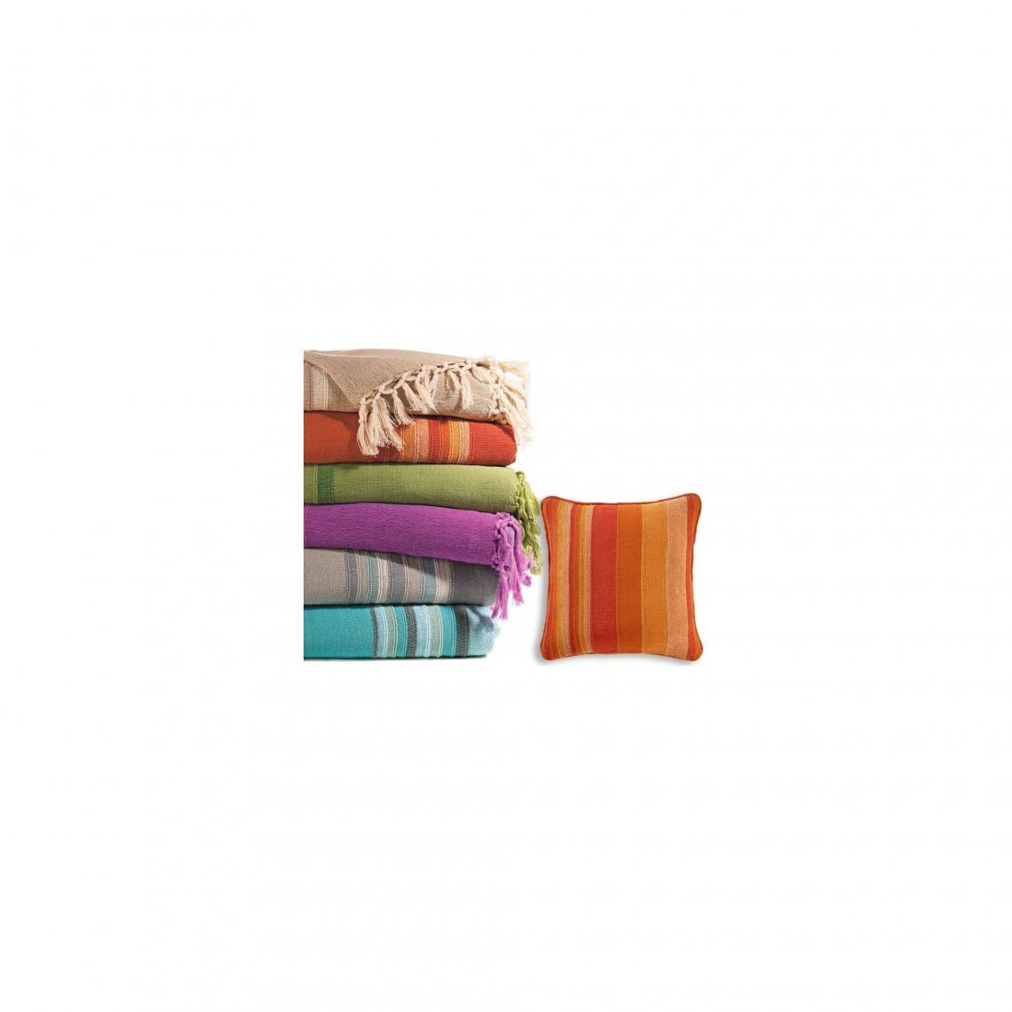 Boutis Plaid Ou Jete De Canape Raye En Coton Becquet Orange 3