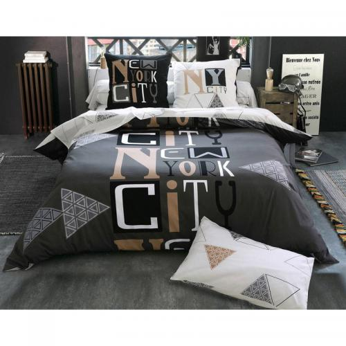 Becquet - Drap-housse New York City Becquet - Gris - Linge de lit adulte