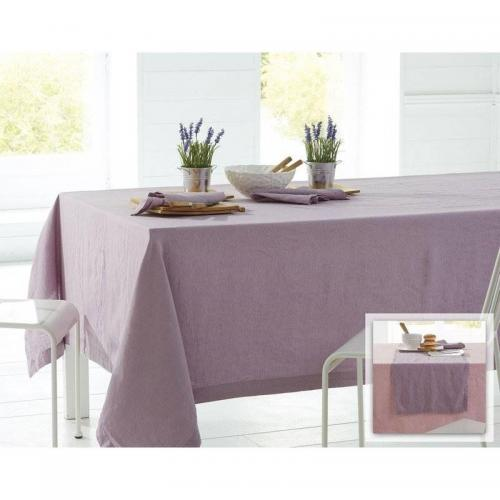 Becquet - Lot de 3 serviettes en lin lavé Becquet - Mauve - Serviette de table