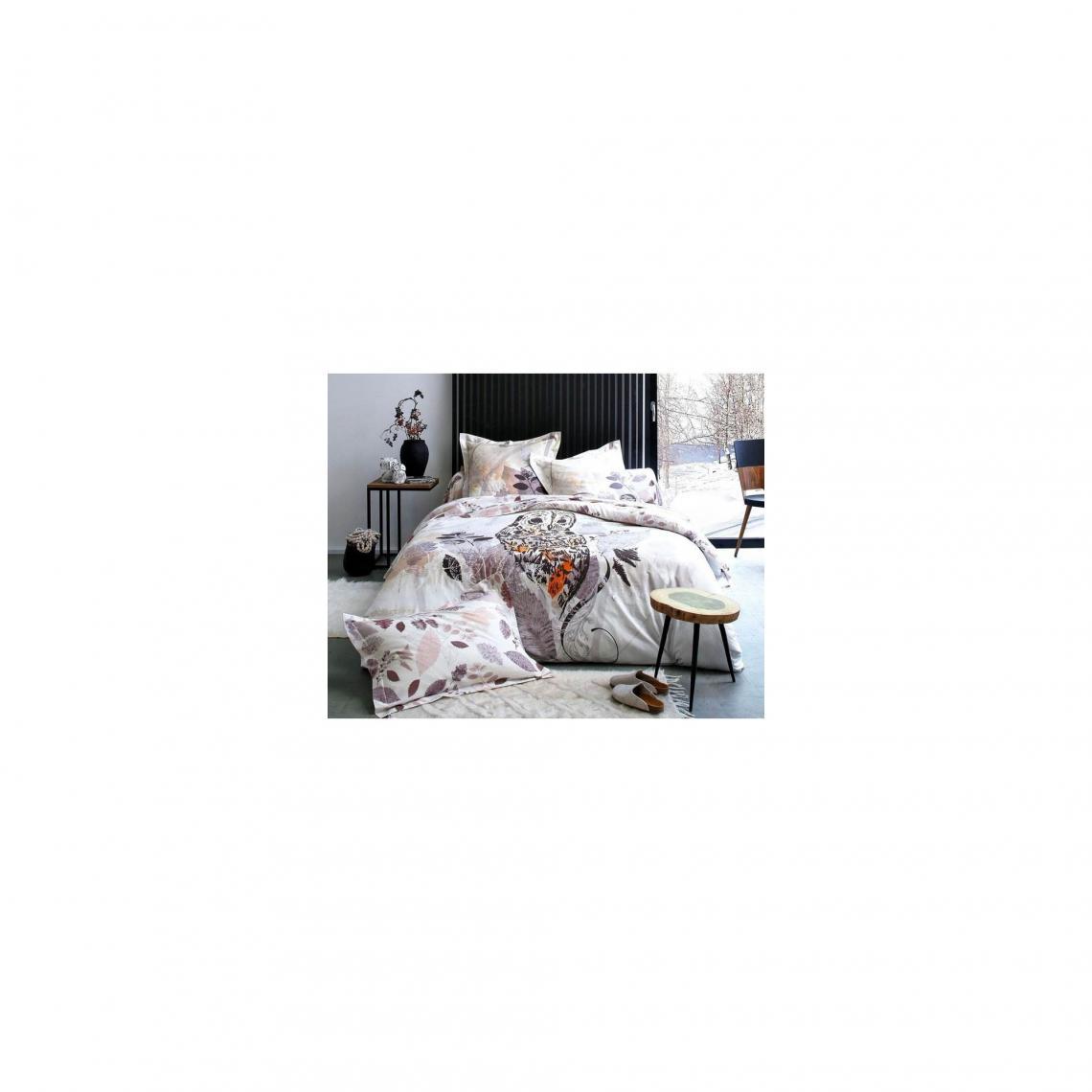 156760a3fe429 Housse de couette décor chouette Becquet - Imprimé Parme Becquet Linge de  maison