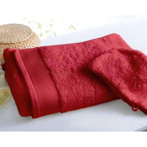 Becquet - Lot de 2 gants uni lauréat prestige - 600gm2 - Rouge - Gant de toilette
