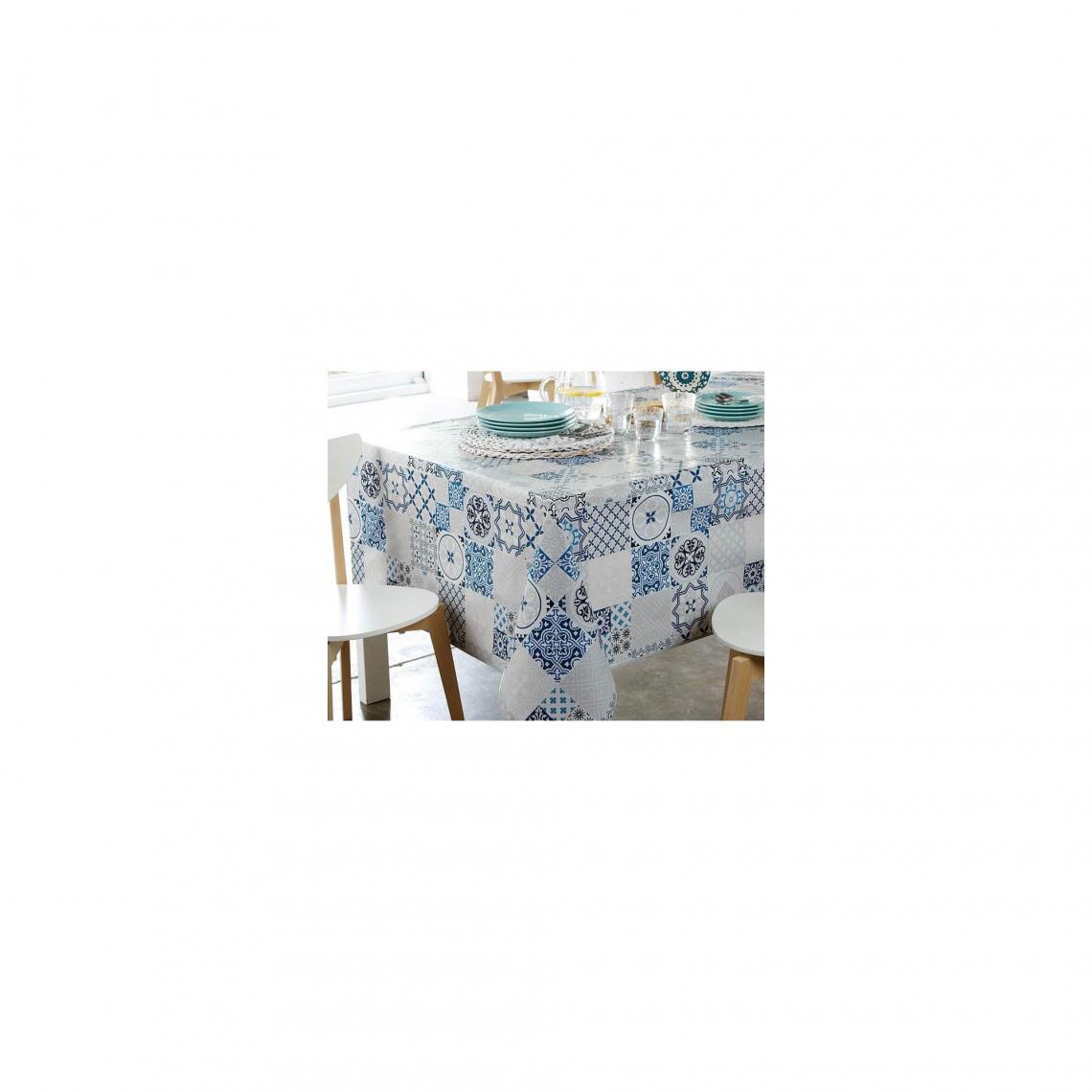 Nappe toile cirée effet carreaux de ciment Becquet - Bleu Becquet Linge de  maison add66929b9b7