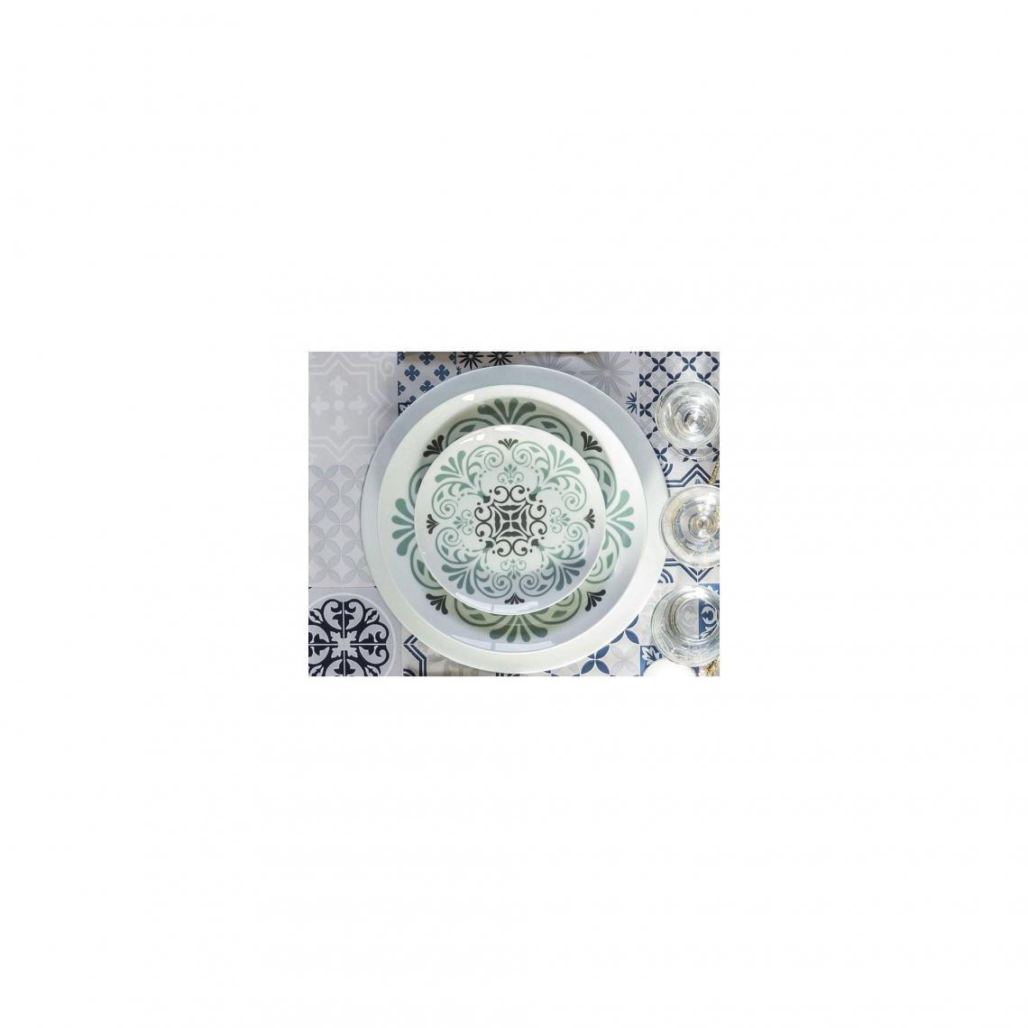 Lot de 4 assiettes motif carreaux de ciment Becquet - Bleu Becquet Mobilier  Déco 51ef55cfbba4