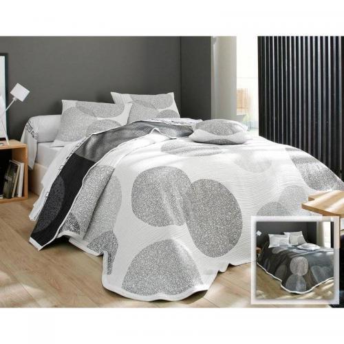 jet de lit bulles tiss jacquard becquet pois gris perle 3suisses. Black Bedroom Furniture Sets. Home Design Ideas