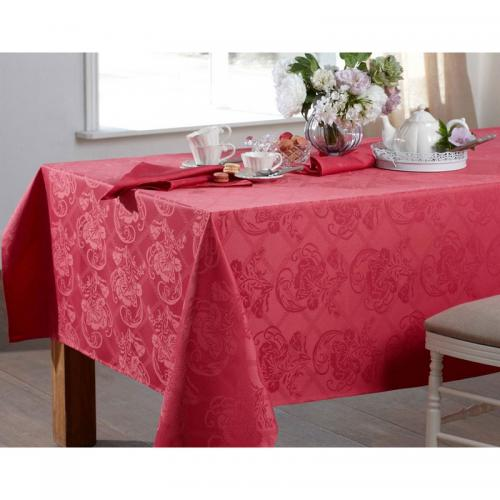 Becquet - Lot de 3 serviettes damassé polyester Becquet - Bois De Rose - Linge de table