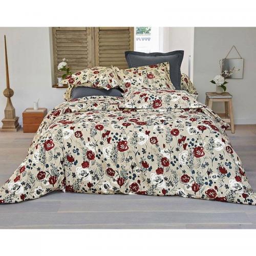 570a82546d5aa3 Becquet - Housse de couette flanelle motif fleurs Becquet - Rouge - Housses  de couette flanelle
