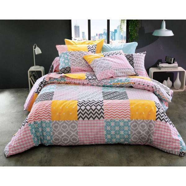Housse de couette patchwork graphique becquet cr ation becquet multicolore 3suisses - Housse de couette graphique ...