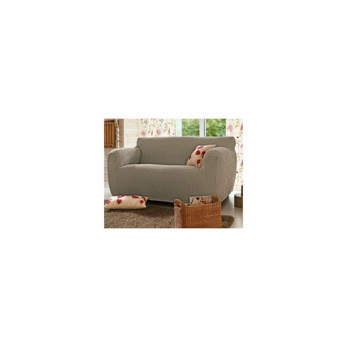 Comment Faire Une Housse De Fauteuil housse de canapé bi-extensibles fauteuil et canapé à accoudoirs - beige 1  avis plus de détails