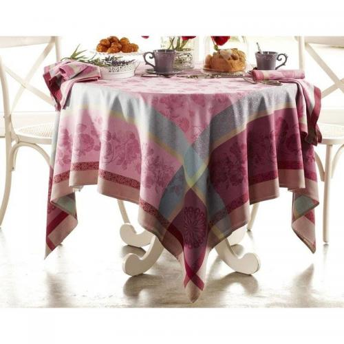 Becquet - Lot de 3 serviettes lot de 3 serviettes de table tissées jacquard Becquet - Rose - Linge de table